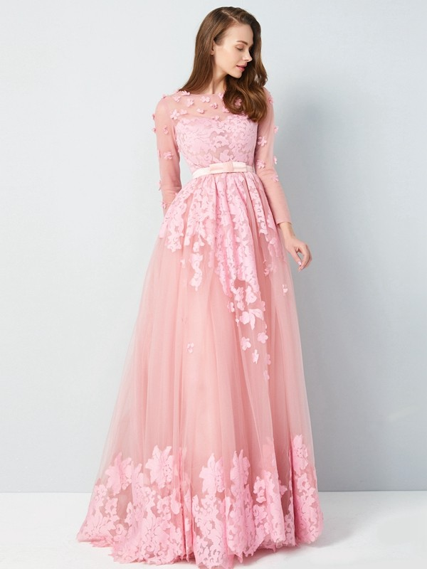 A-Line/Princess Scoop Tulle 3/4 Sleeves Floor-Length Prom Dresses