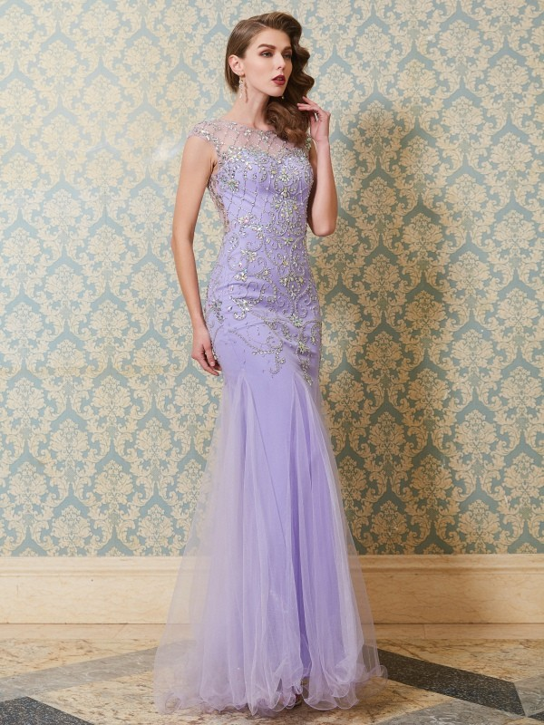 Trumpet/Mermaid Scoop Tulle Sleeveless Floor-Length Prom Dresses