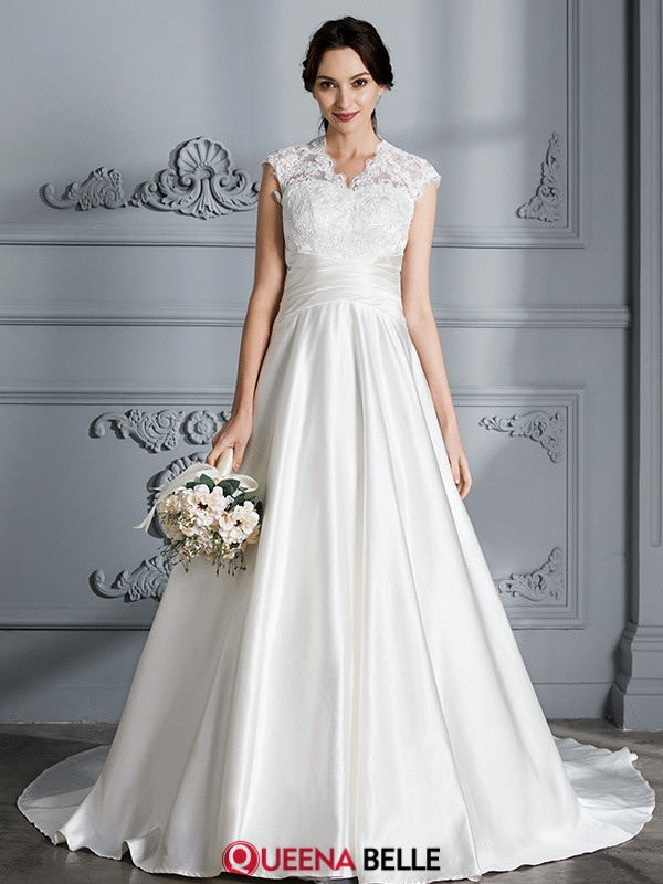 Ball Gown V-neck Satin Sleeveless Court Train Wedding Dresses