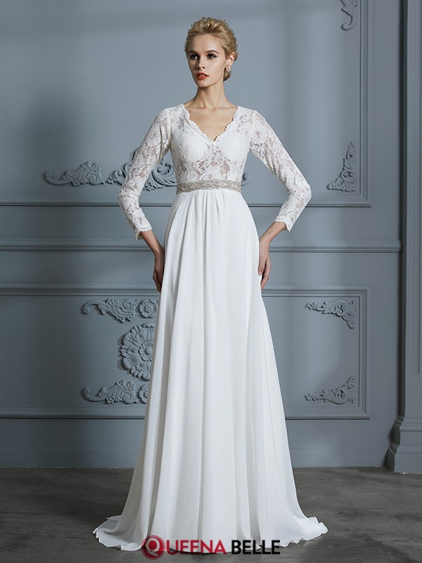 A-Line/Princess V-neck Chiffon 3/4 Sleeves Sweep/Brush Train Wedding Dresses