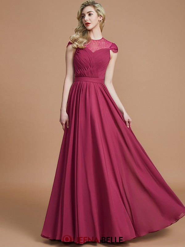 A-Line/Princess Scoop Chiffon Short Sleeves Floor-Length Bridesmaid Dresses