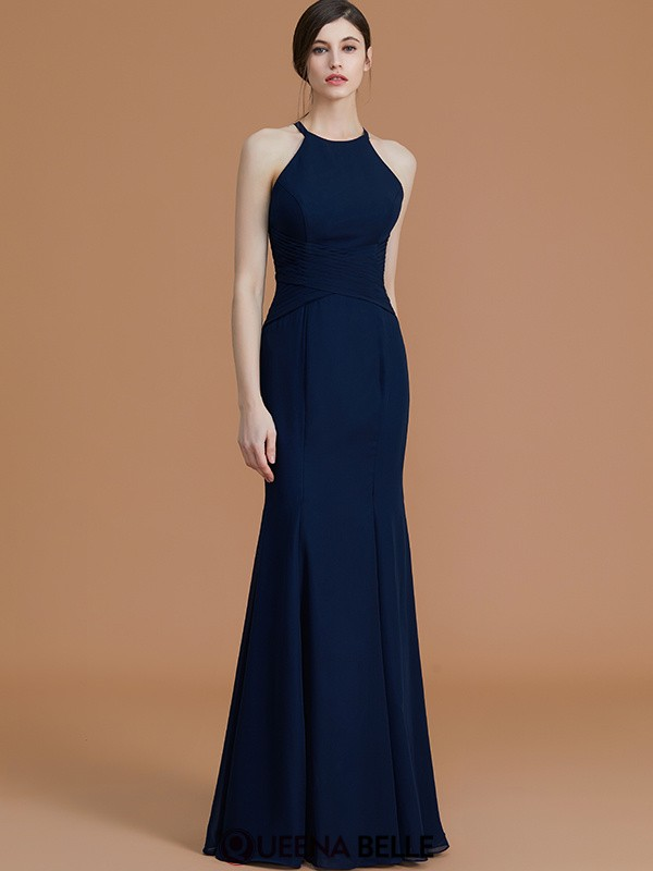 Trumpet/Mermaid Halter Chiffon Sleeveless Floor-Length Bridesmaid Dresses