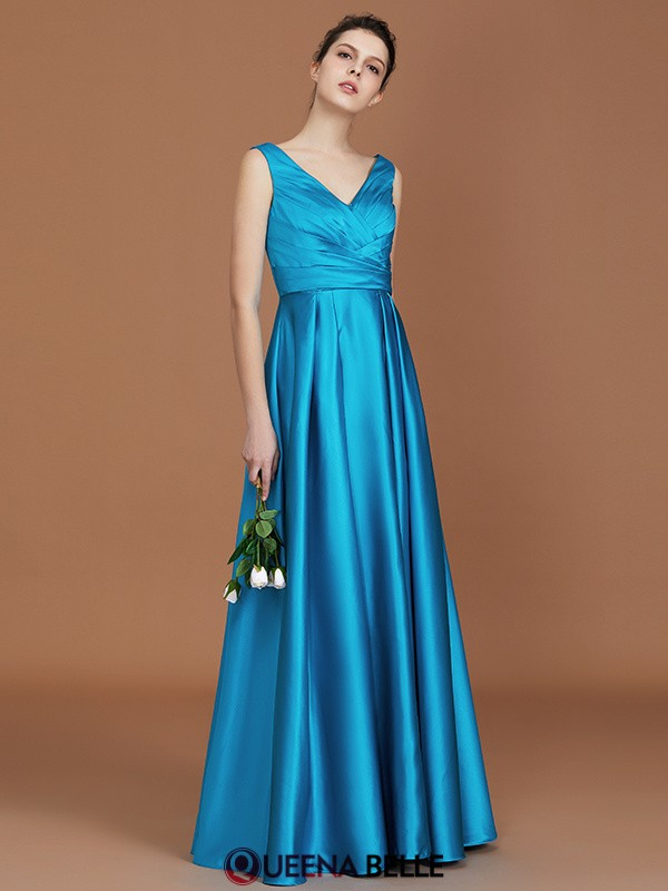 A-Line/Princess V-neck Satin Sleeveless Floor-Length Bridesmaid Dresses