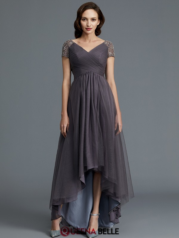 A-Line/Princess V-neck Tulle Short Sleeves Asymmetrical Mother of the Bride Dresses
