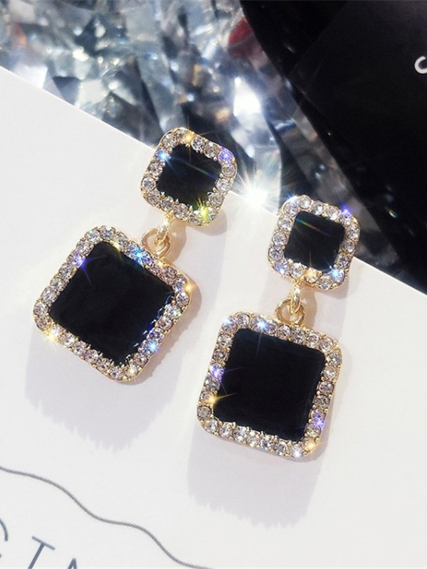 Beautiful Square Rhinestone Hot Sale Women Earrings