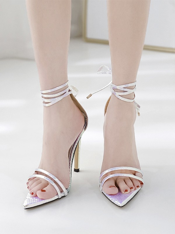Women's PU Peep Toe With Lace Up Stiletto Heel Sandals