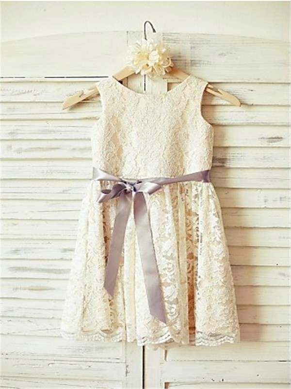 A-line/Princess Scoop Sleeveless Bowknot Tea-Length Lace Flower Girl Dresses