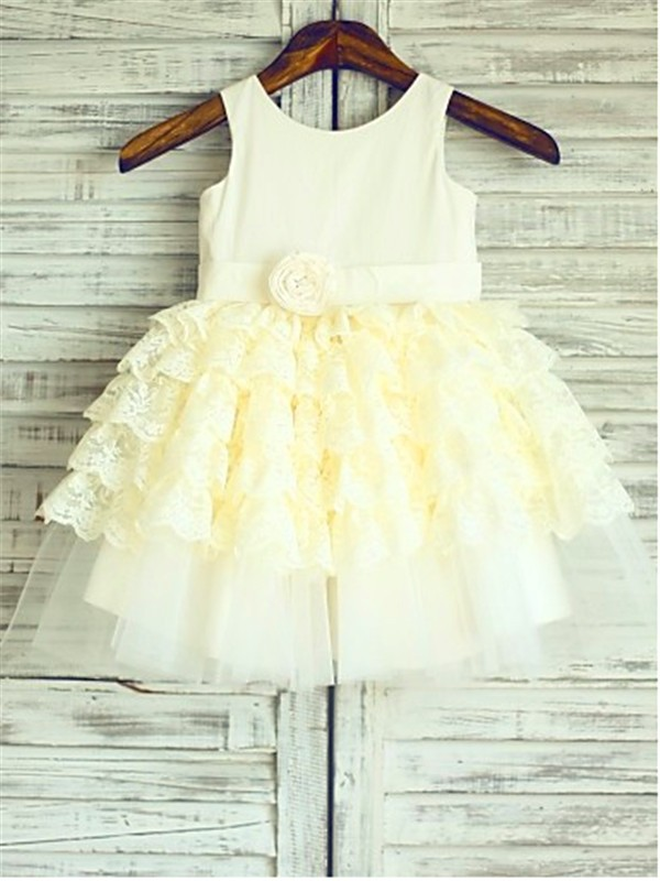 Ball Gown Scoop Lace Sleeveless Tea-Length Flower Girl Dresses