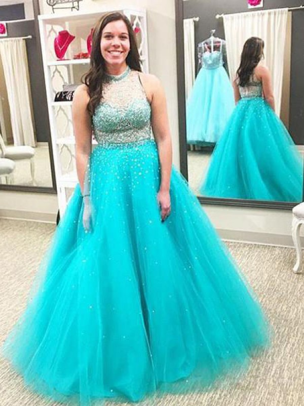 Ball Gown High Neck Tulle Sleeveless Floor-Length Plus Size Dresses