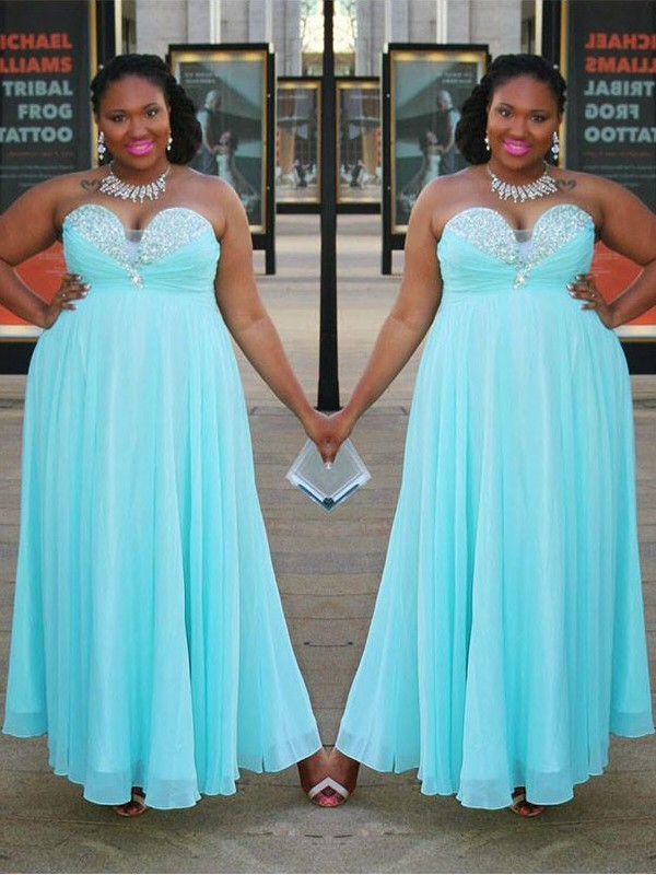 A-Line/Princess Sweetheart Chiffon Sleeveless Floor-Length Plus Size Dresses