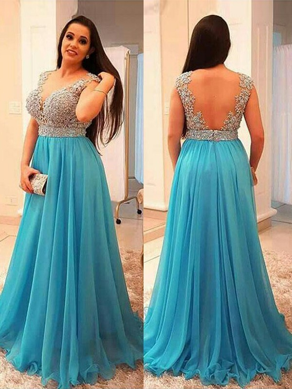 A-Line/Princess V-neck Chiffon Sleeveless Floor-Length Plus Size Dresses