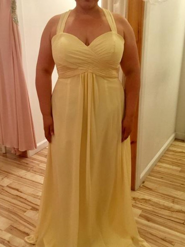 A-Line/Princess Halter Chiffon Sleeveless Floor-Length Plus Size Dresses