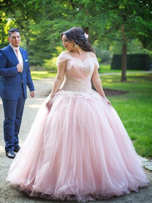 Ball Gown Off-the-Shoulder Tulle Sleeveless Floor-Length Plus Size Dresses