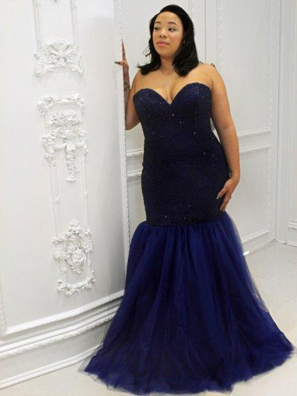 Trumpet/Mermaid Sweetheart Tulle Sleeveless Floor-Length Plus Size Dresses