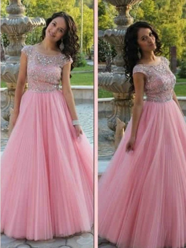 A-Line/Princess Scoop Tulle Short Sleeves Floor-Length Dresses
