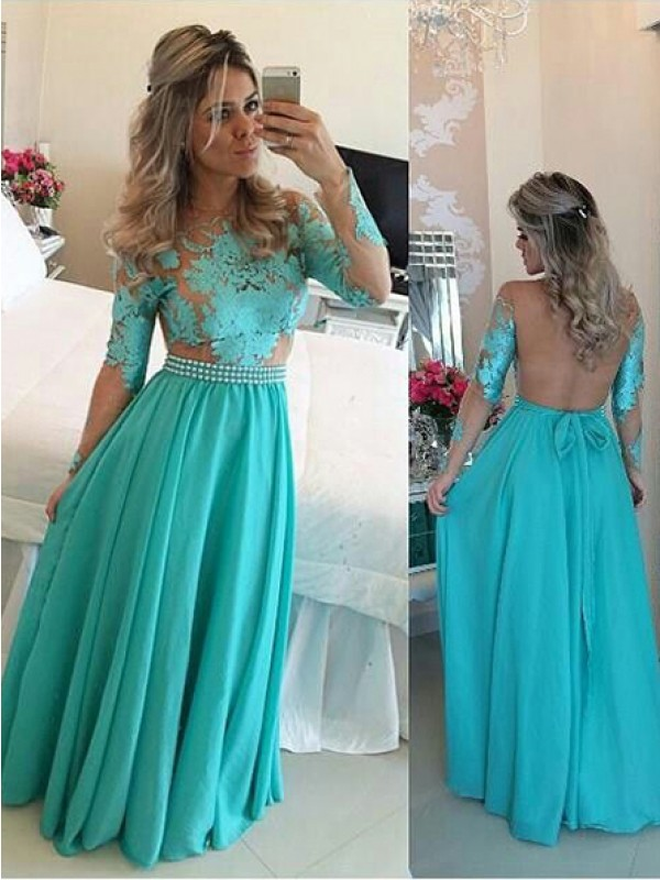 A-Line/Princess Scoop Chiffon Long Sleeves Floor-Length Dresses