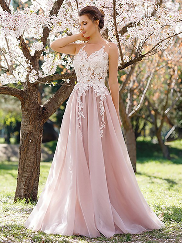 A-Line/Princess Jewel Tulle Sleeveless Floor-Length Dresses