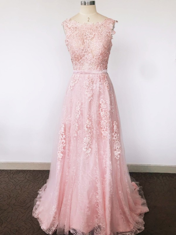 A-Line/Princess Scoop Tulle Sleeveless Sweep/Brush Train Dresses