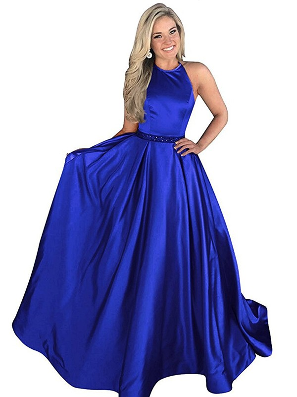 A-Line/Princess Halter Satin Sleeveless Sweep/Brush Train Dresses