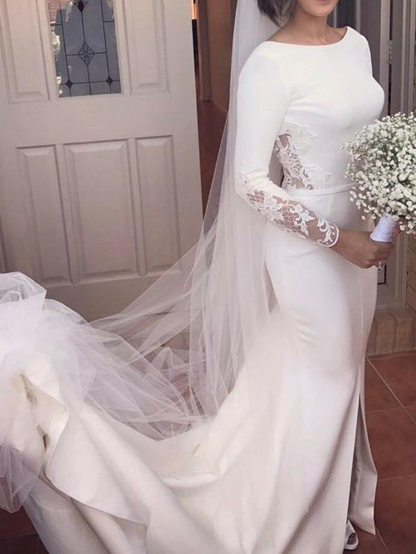 Trumpet/Mermaid Scoop Satin Long Sleeves Court Train Wedding Dresses