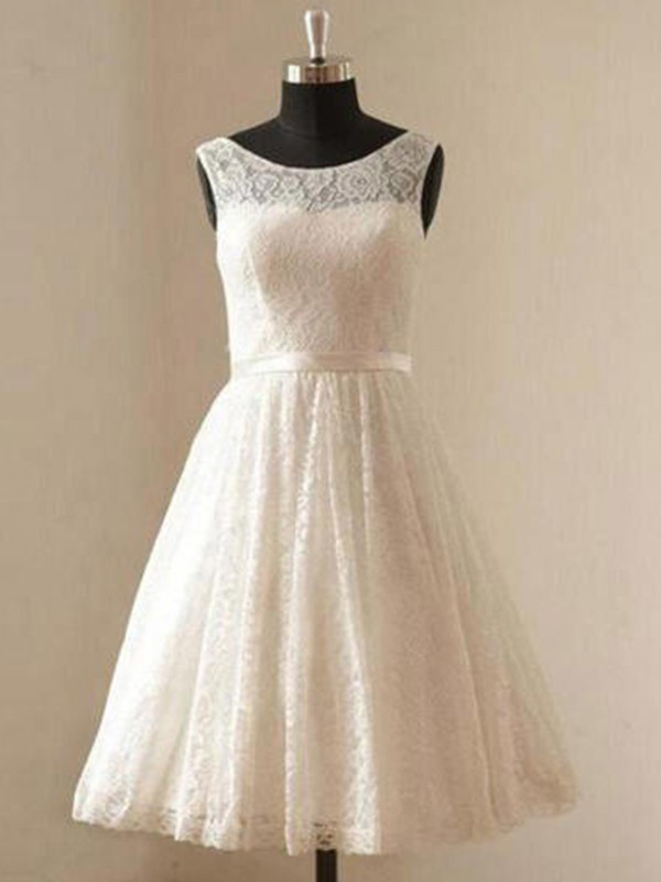 A-Line/Princess Scoop Lace Sleeveless Knee-Length Wedding Dresses