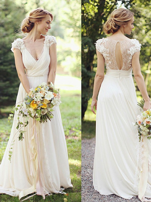 A-Line/Princess V-neck Chiffon Short Sleeves Sweep/Brush Train Wedding Dresses
