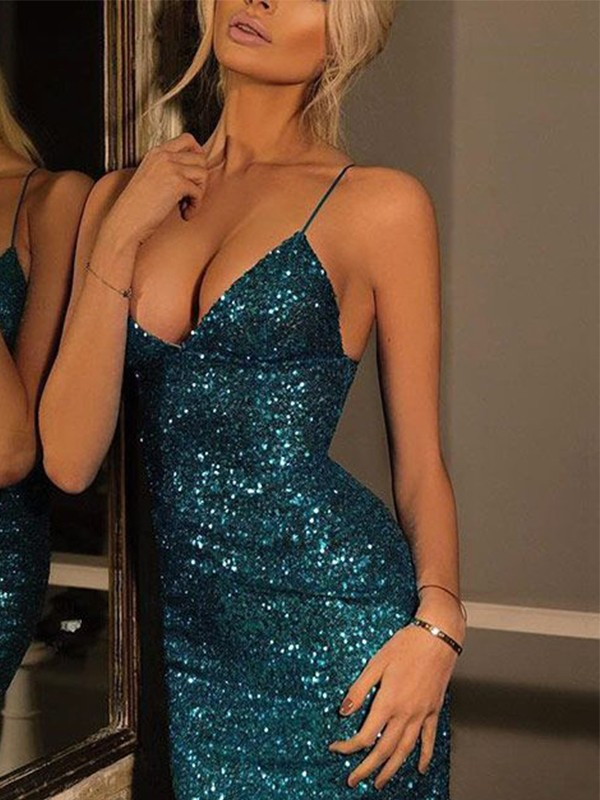 Sheath/Column Spaghetti Straps Sequins Sleeveless Short/Mini Dresses
