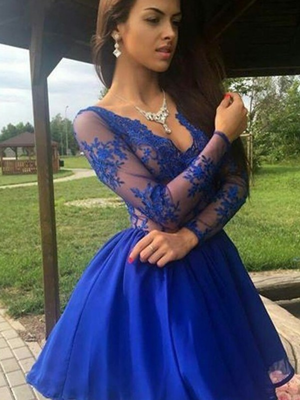 A-Line/Princess V-neck Organza Long Sleeves Short/Mini Dresses