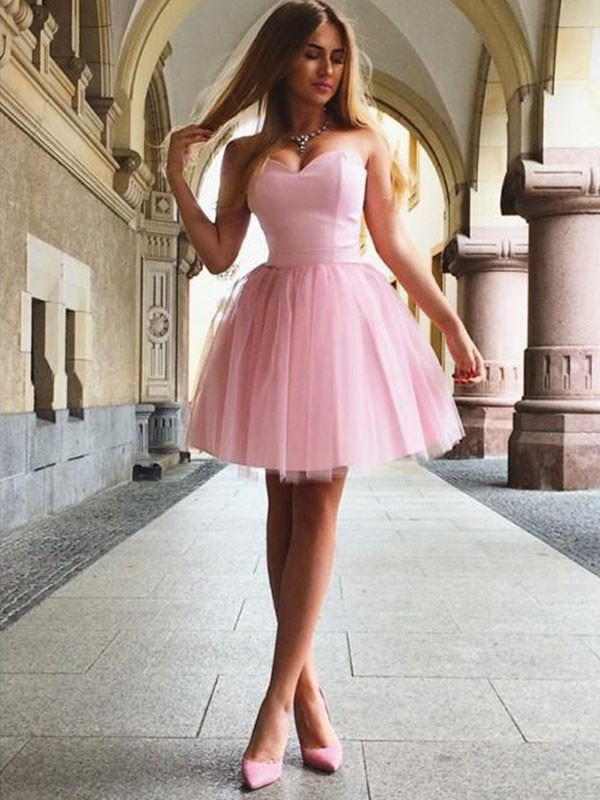 A-Line/Princess Sweetheart Satin Sleeveless Short/Mini Dresses