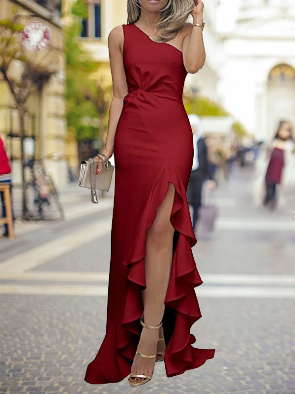 Sheath/Column One-Shoulder Satin Sleeveless Sweep/Brush Train Dresses