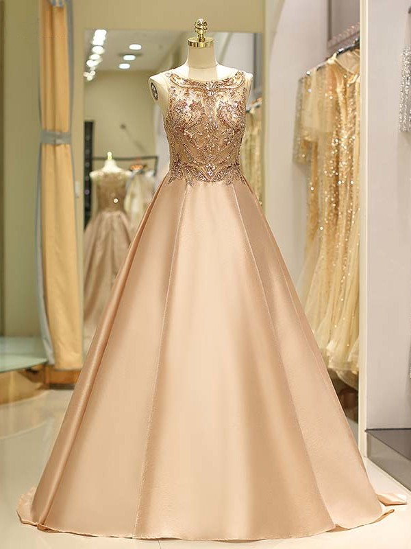 Ball Gown Bateau Satin Sleeveless Sweep/Brush Train Dresses