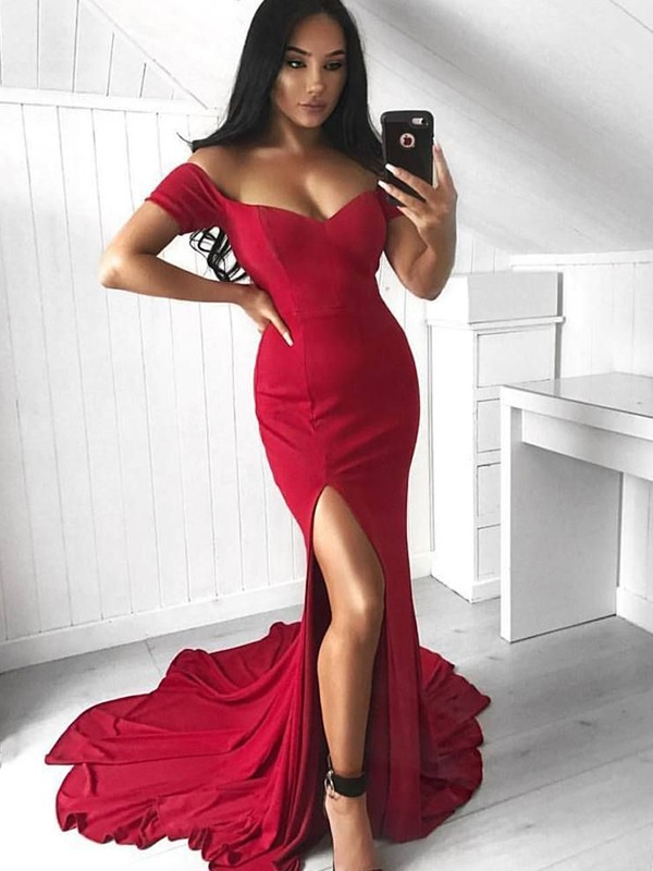 Trumpet/Mermaid Off-the-Shoulder Spandex Sleeveless Court Train Dresses