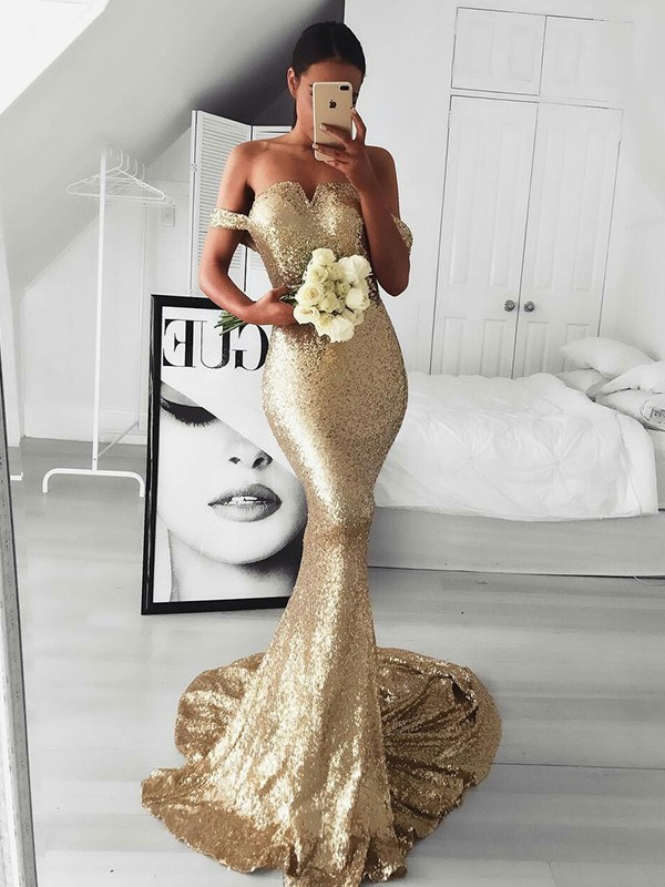 Trumpet/Mermaid Off-the-Shoulder Sequins Sleeveless Sweep/Brush Train Dresses