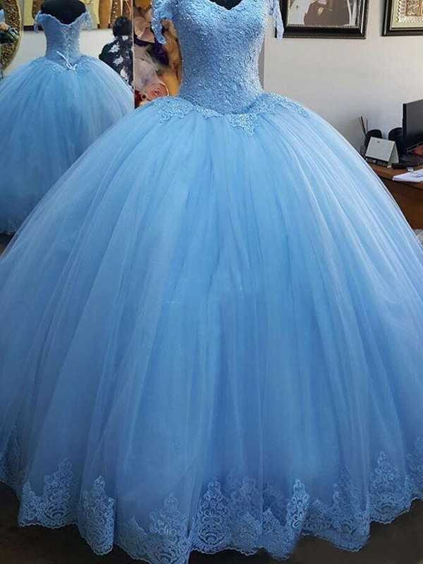 Ball Gown Off-the-Shoulder Tulle Sleeveless Sweep/Brush Train Dresses