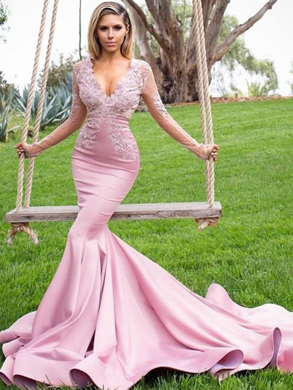 Trumpet/Mermaid V-neck Satin Long Sleeves Sweep/Brush Train Dresses