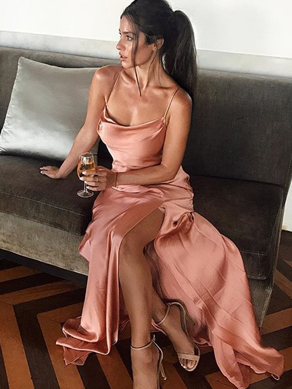 Sheath/Column Spaghetti Straps Silk like Satin Sleeveless Floor-Length Dresses