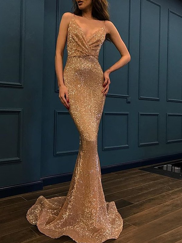 Trumpet/Mermaid Spaghetti Straps Sequins Sleeveless Sweep/Brush Train Dresses