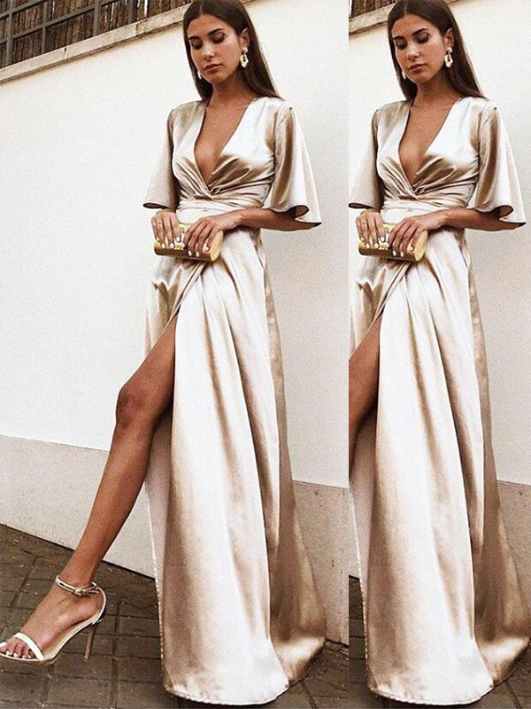 Sheath/Column V-neck Silk like Satin 1/2 Sleeves Floor-Length Dresses