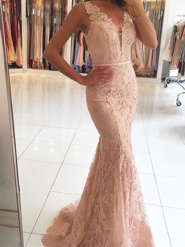 Trumpet/Mermaid V-neck Lace Sleeveless Sweep/Brush Train Dresses