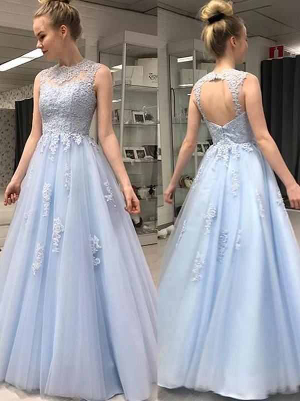 A-Line/Princess Sheer Neck Tulle Sleeveless Floor-Length Dresses