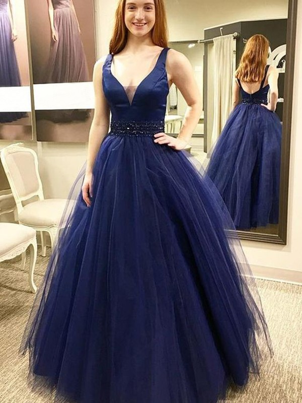 Ball Gown V-neck Tulle Sleeveless Floor-Length Dresses