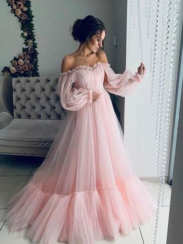 A-Line/Princess Off-the-Shoulder Tulle Long Sleeves Floor-Length Dresses