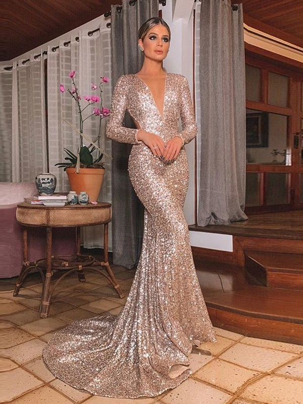 Trumpet/Mermaid V-neck Sequins Long Sleeves Sweep/Brush Train Dresses