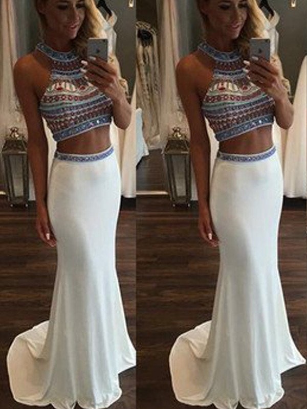 Trumpet/Mermaid Halter Chiffon Sleeveless Sweep/Brush Train Two Piece Dresses