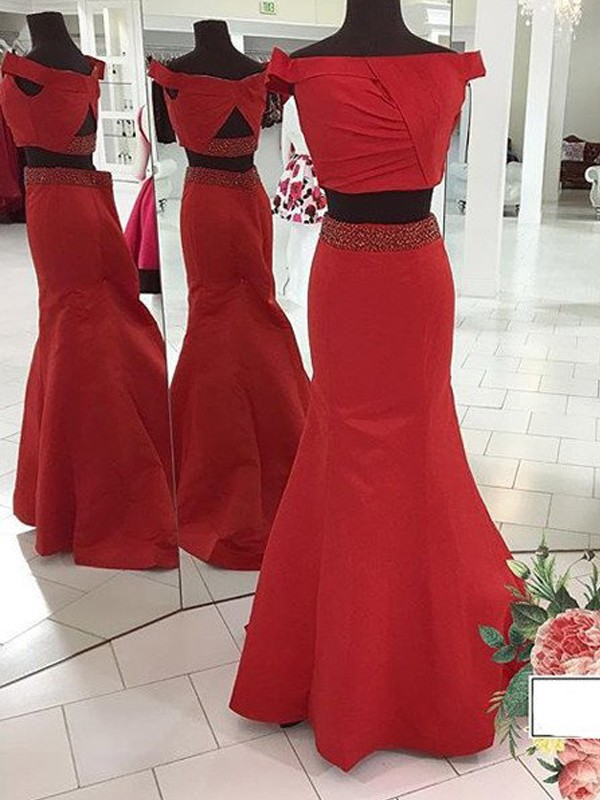 Trumpet/Mermaid Off-the-Shoulder Satin Sleeveless Sweep/Brush Train Two Piece Dresses