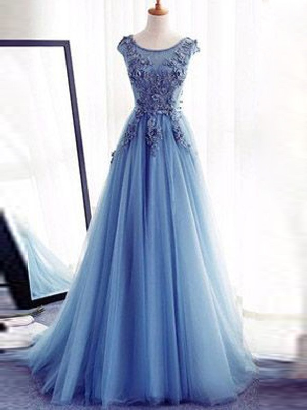 Ball Gown Jewel Tulle Sleeveless Sweep/Brush Train Dresses