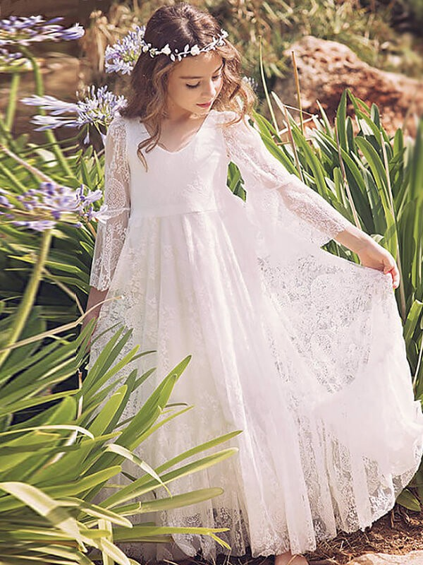A-Line/Princess V-neck Lace Long Sleeves Floor-Length Flower Girl Dresses
