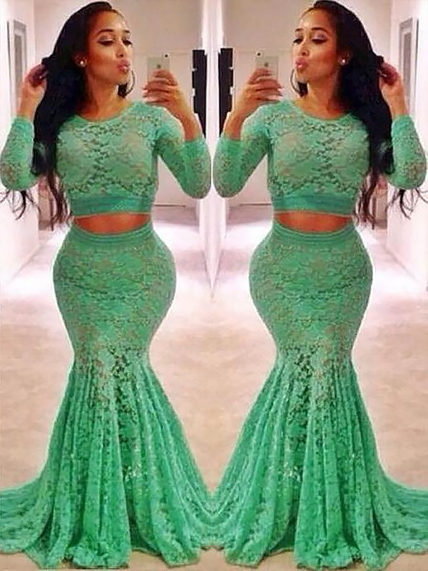 Trumpet/Mermaid Scoop Lace Long Sleeves Sweep/Brush Train Two Piece Dresses