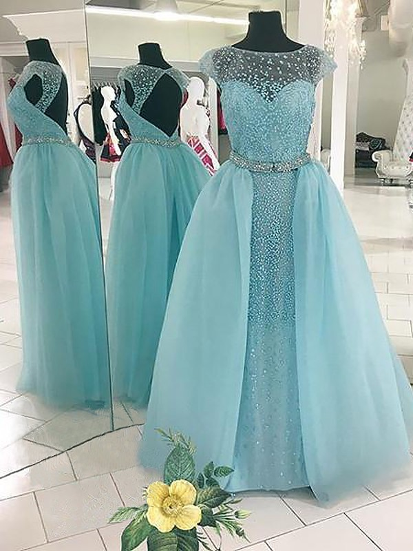 Ball Gown Bateau Tulle Sleeveless Floor-Length Dresses