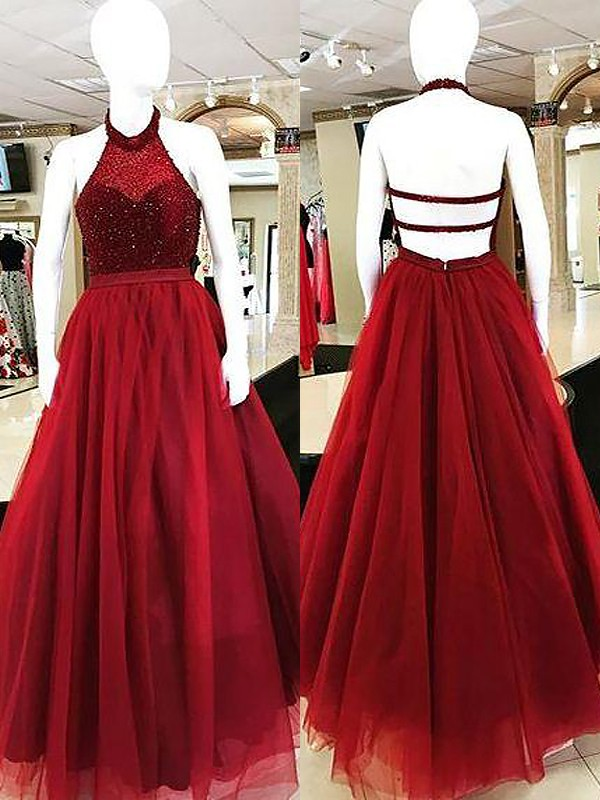 Ball Gown Halter Tulle Sleeveless Floor-Length Dresses